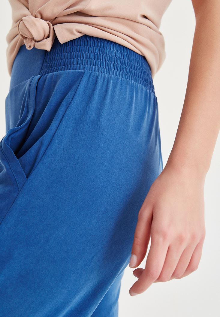 Bayan Lacivert Beli Lastik Detaylı Pantolon