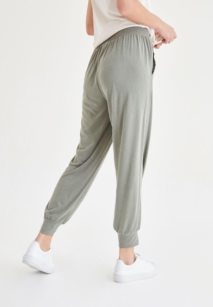 Bayan Yeşil Beli Lastik Detaylı Pantolon