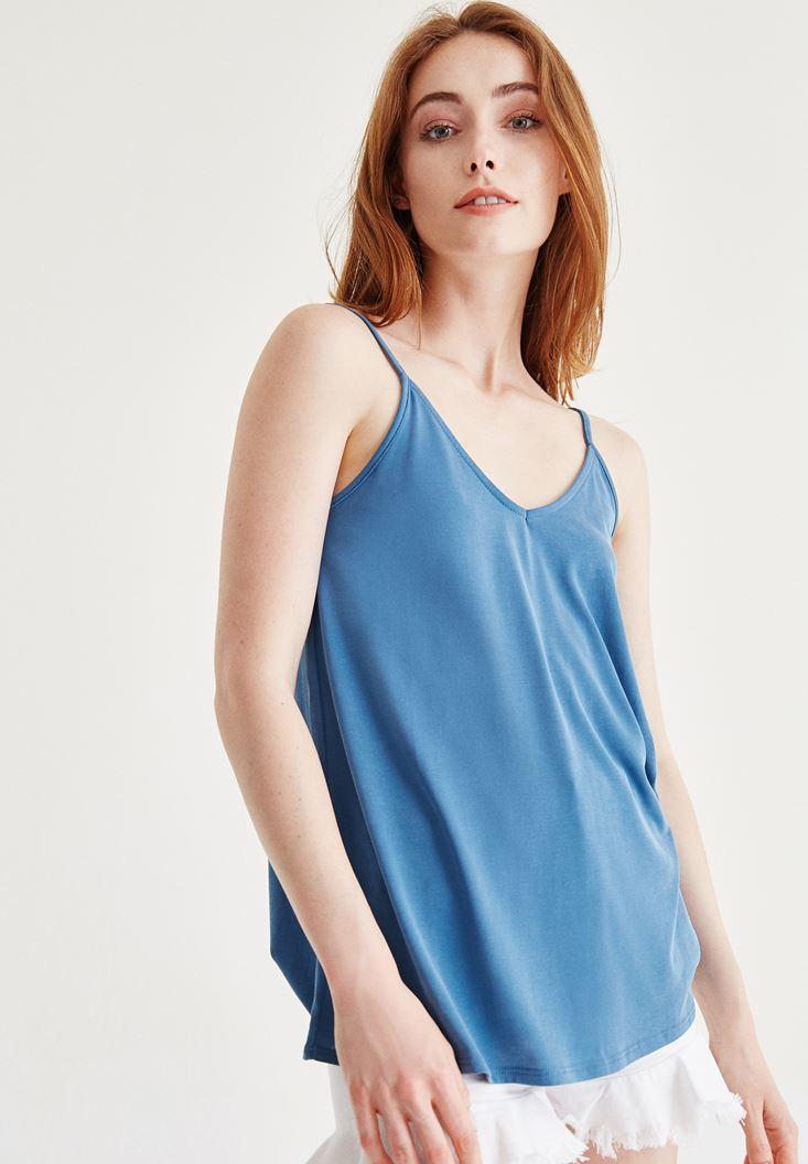 Mavi İnce Askılı Bluz