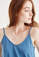 Bayan Mavi İnce Askılı Bluz