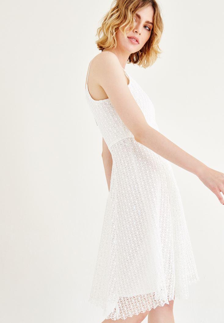 Bayan Beyaz Dantel Elbise