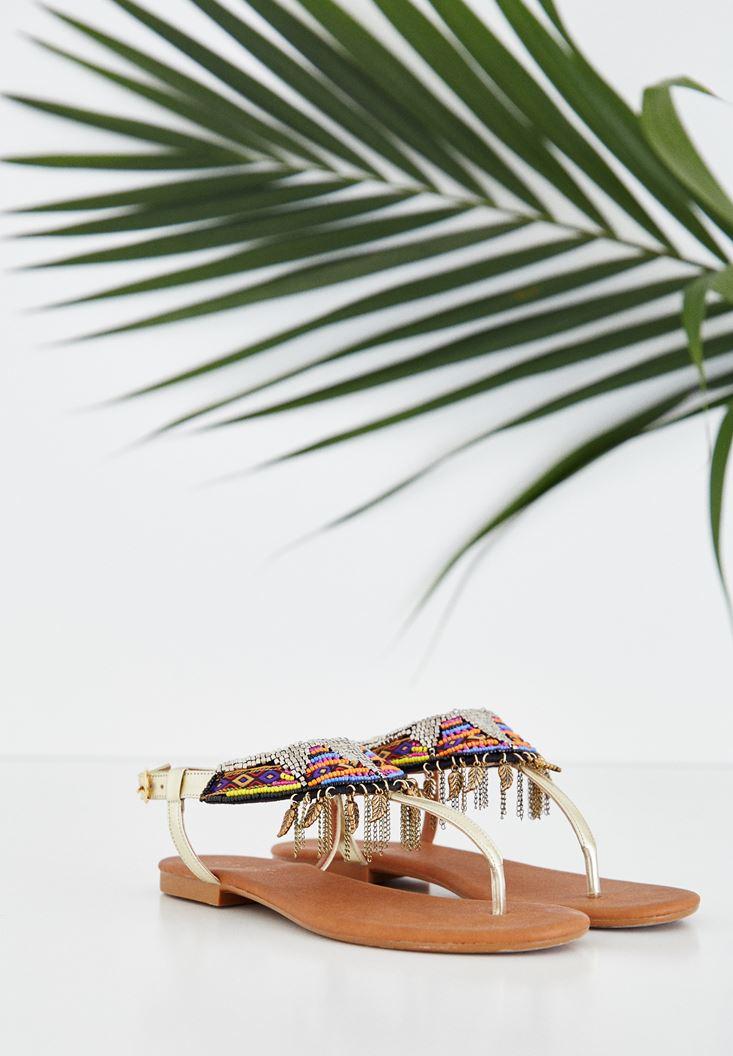 Altın Boncuklu Sandalet
