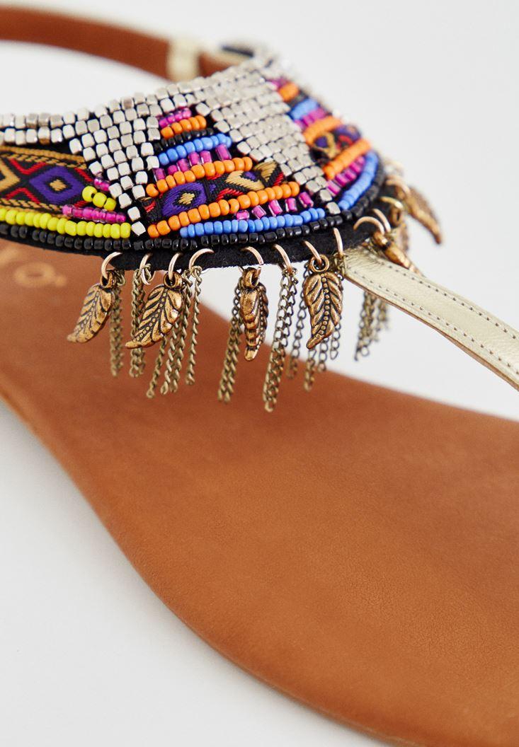 Bayan Altın Boncuklu Sandalet