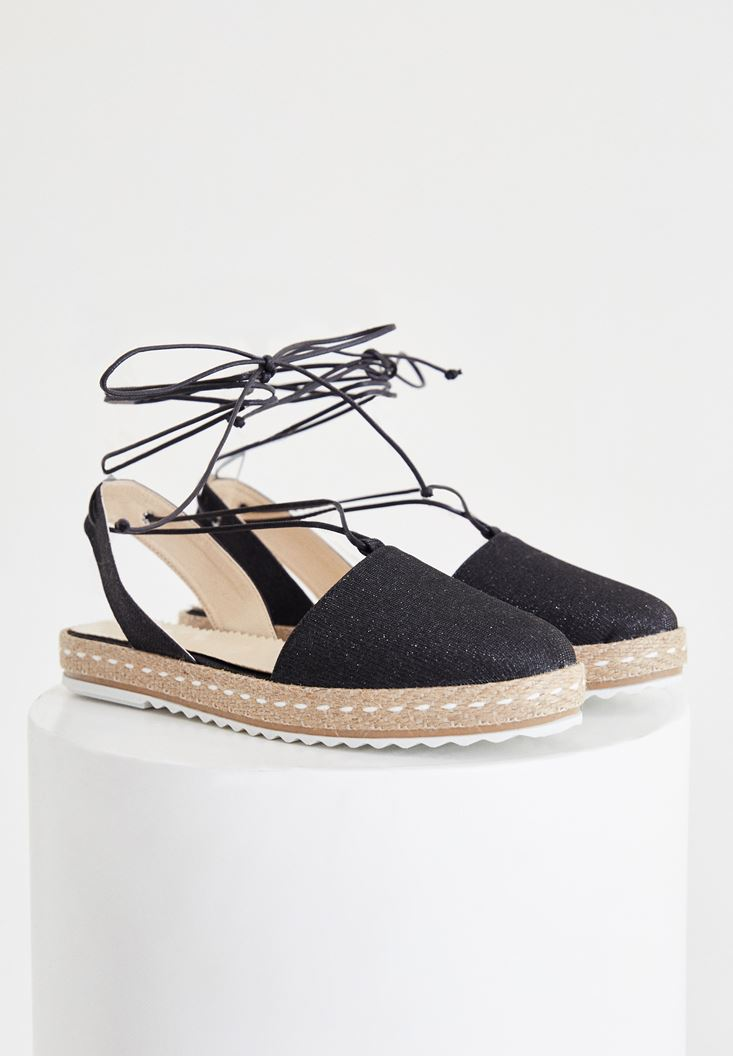 Black Espadrille With Stripe Detailed