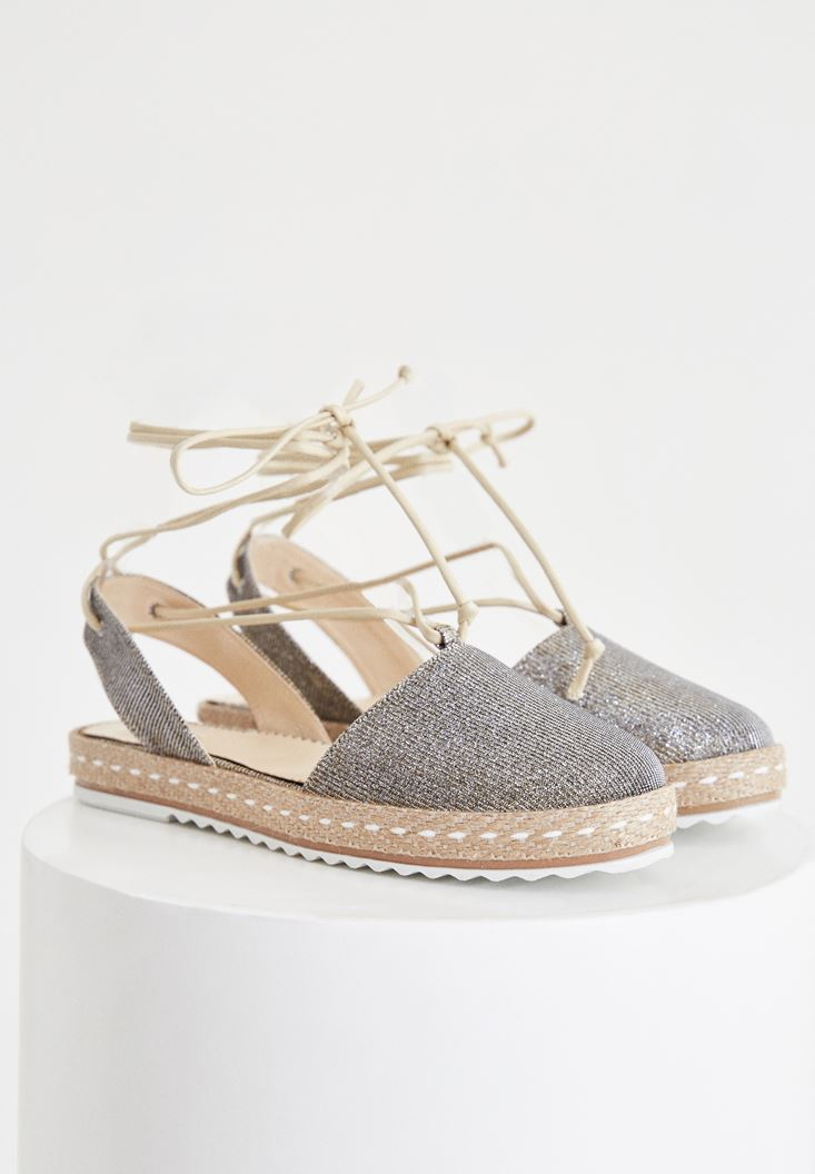 Gold Espadrille With Stripe Detailed