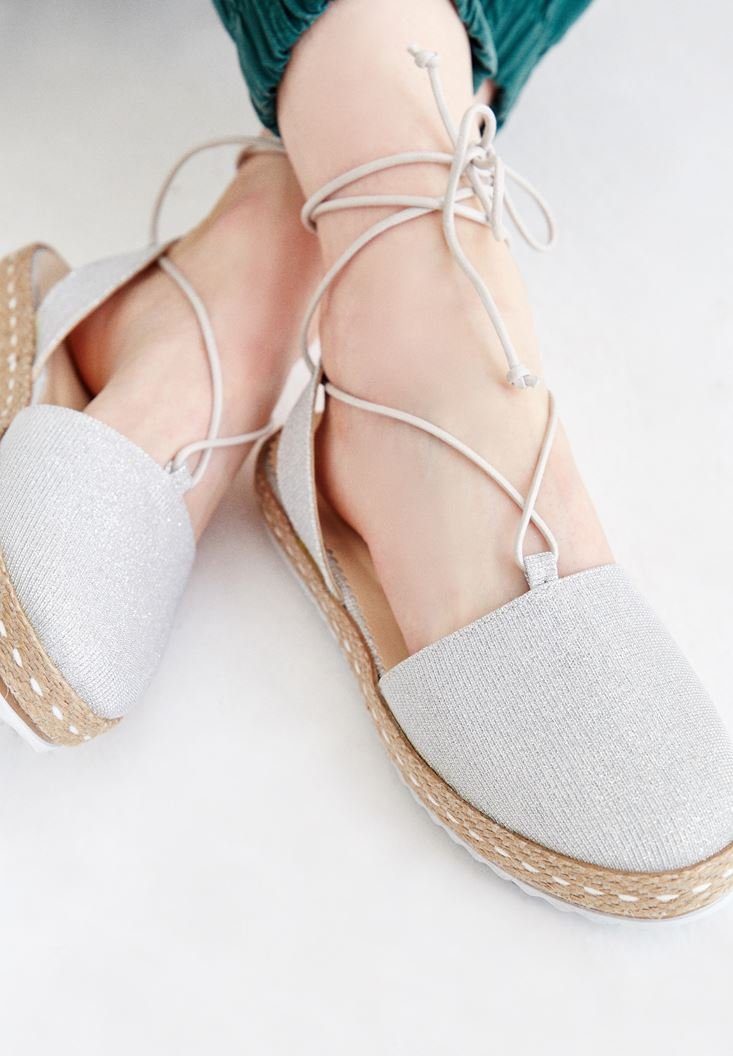 Grey Espadrille With Stripe Detailed