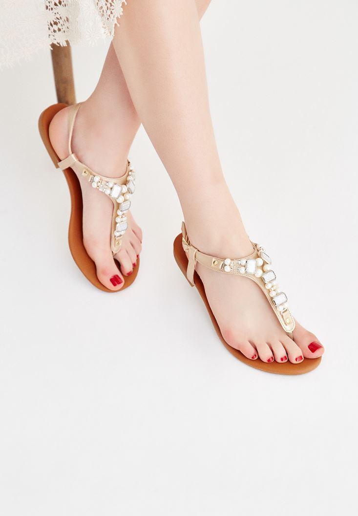 Altın Taşlı Sandalet
