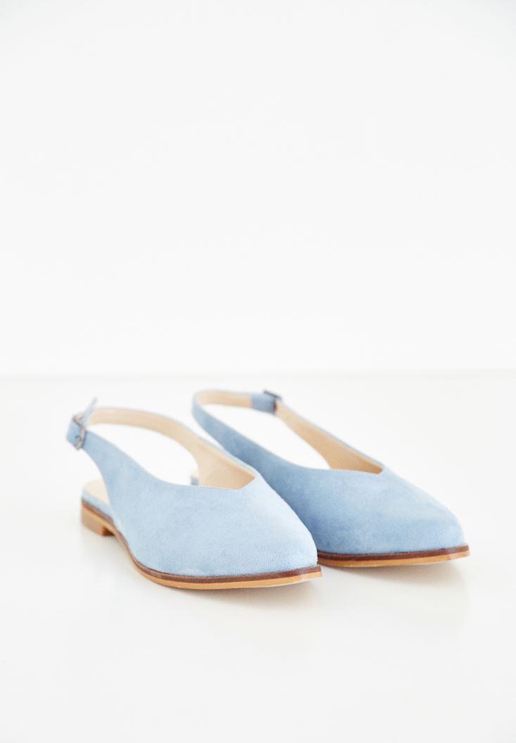 Mavi Arkası Açık Ayakkabı