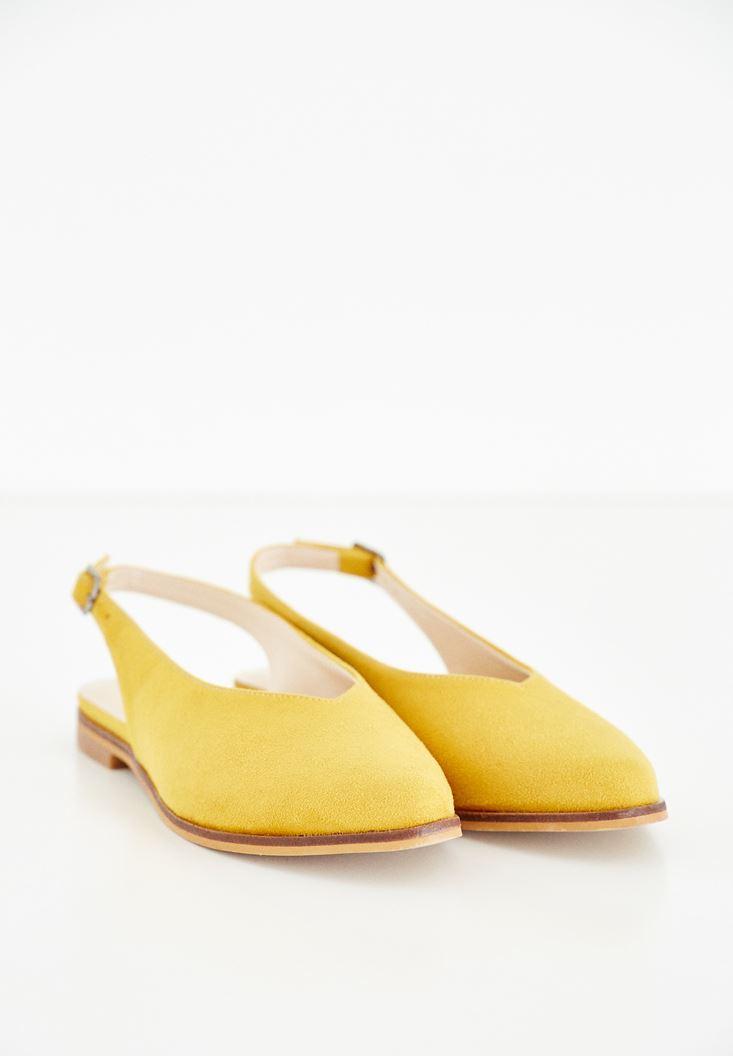Sarı Arkası Açık Ayakkabı
