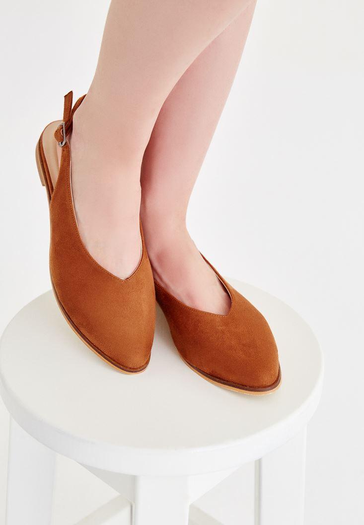 Kahverengi Arkası Açık Ayakkabı