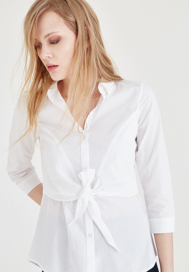 Beyaz Belden Bağlamalı Gömlek