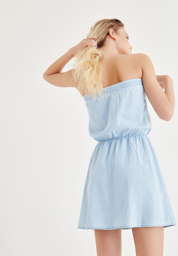 Bayan Mavi Straplez Kot Elbise