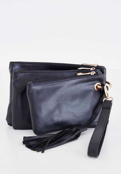 Siyah Üçlü Cüzdan Çanta