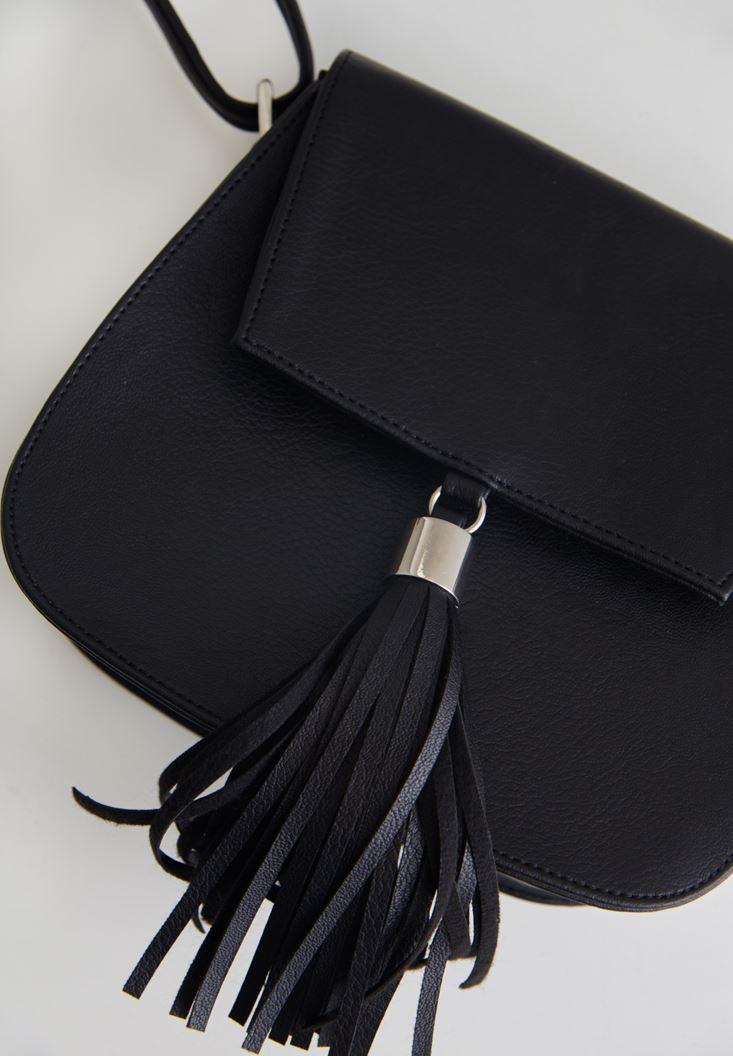 Siyah Püsküllü Mini Çanta