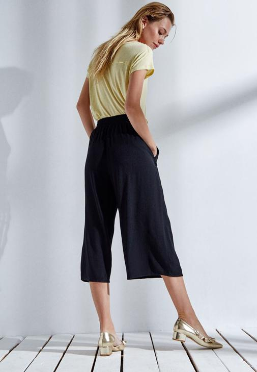 Siyah Kısa Bol Pantolon