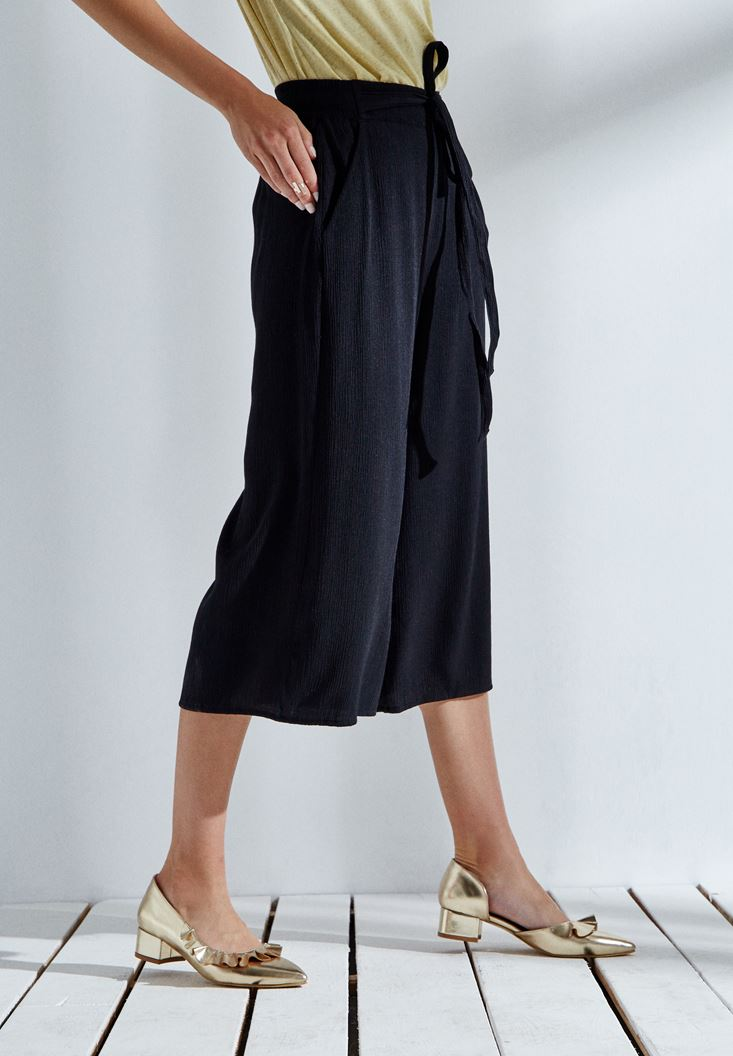 Bayan Siyah Kısa Bol Pantolon