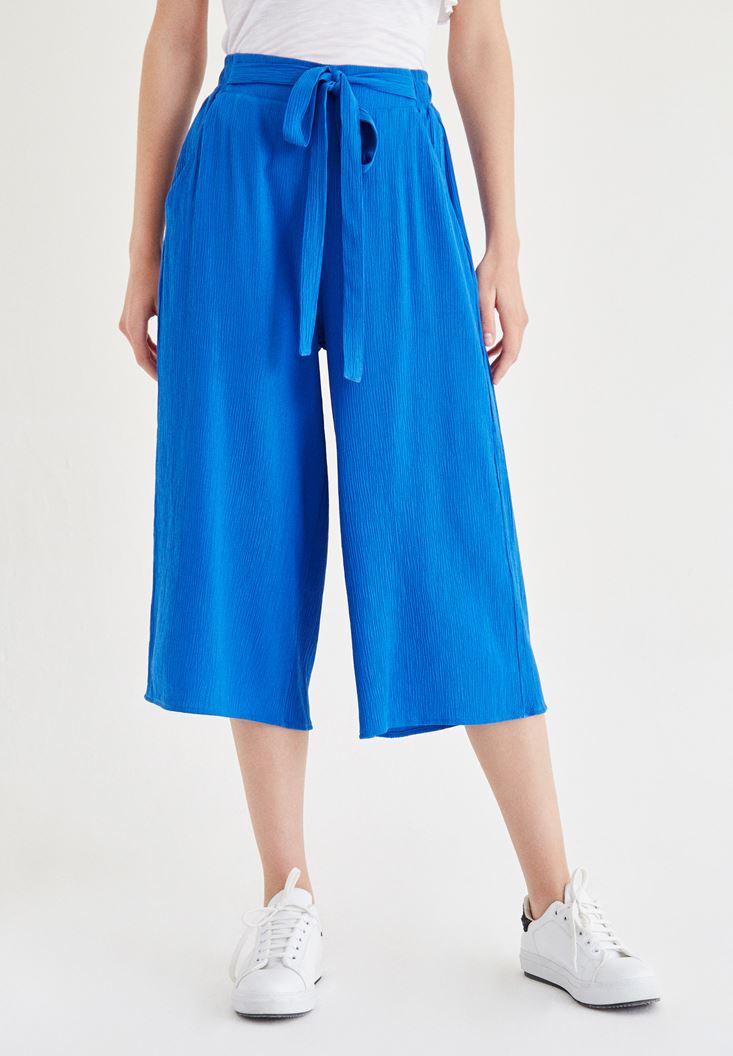 Bayan Mavi Kısa Bol Pantolon