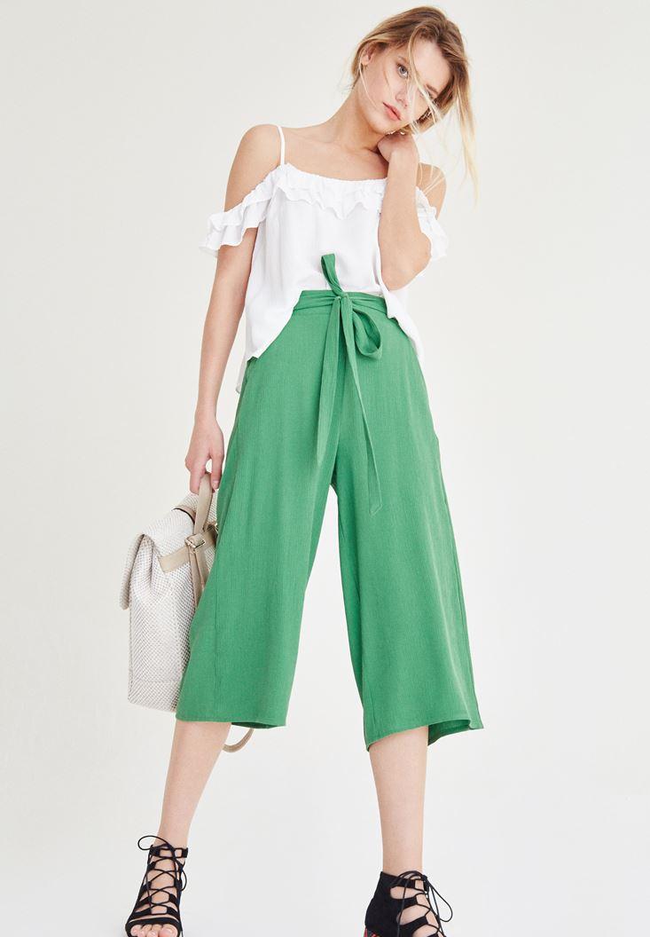 Yeşil Kısa Bol Pantolon
