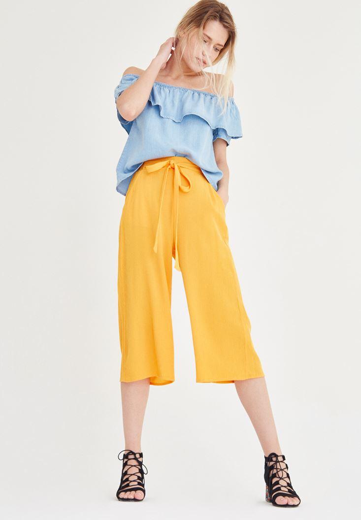 Turuncu Kısa Bol Pantolon