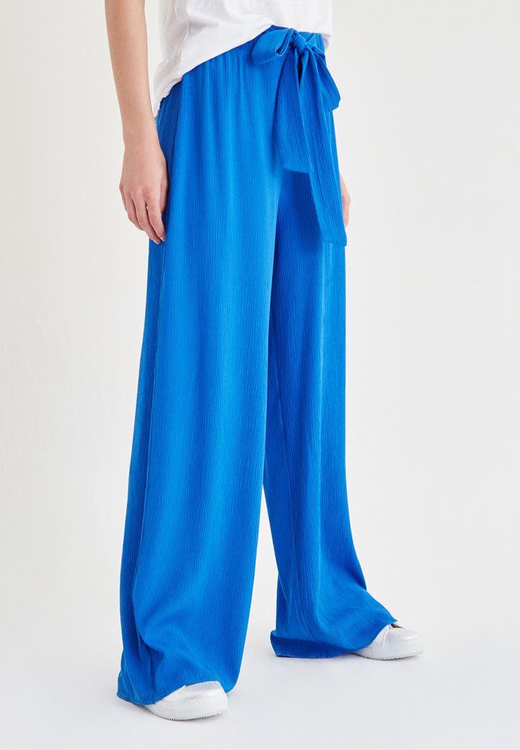 Bayan Mavi Beli Kuşak Detaylı Bol Pantolon