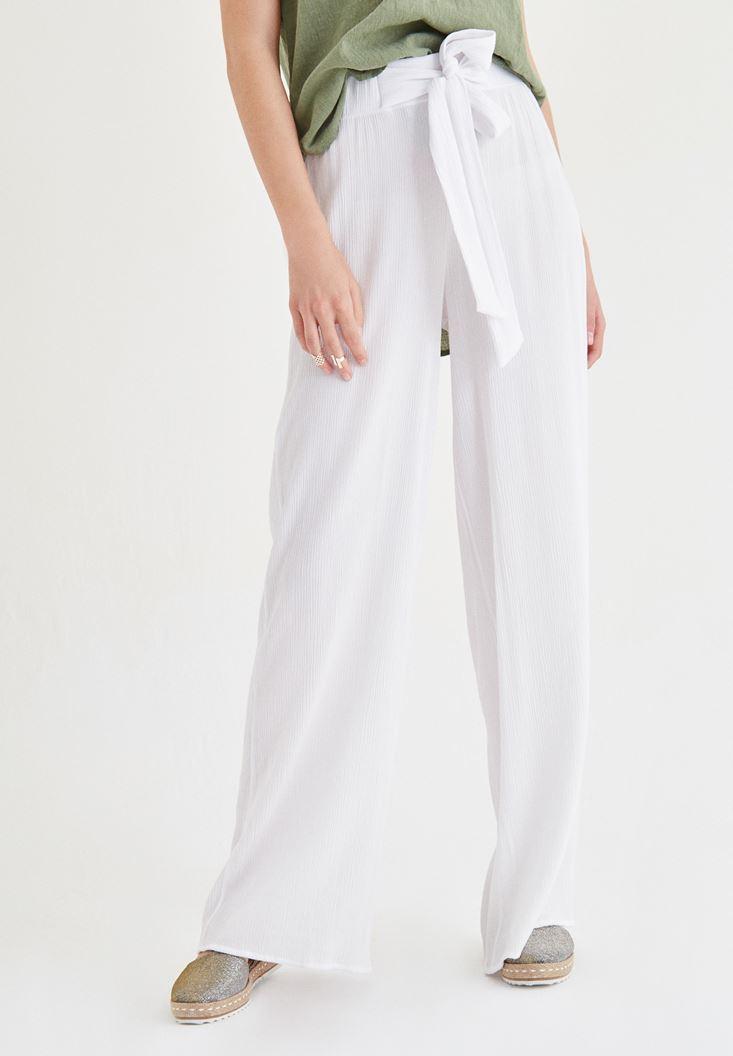 Bayan Beyaz Beli Kuşak Detaylı Bol Pantolon