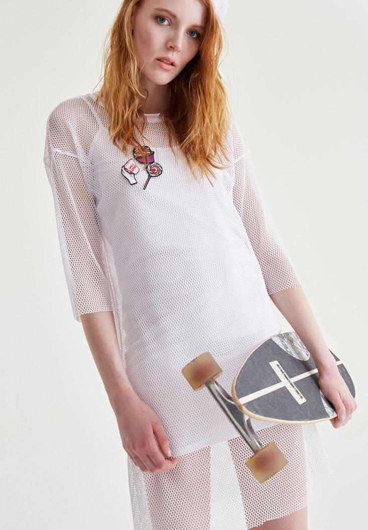 Beyaz File Kısa Elbise