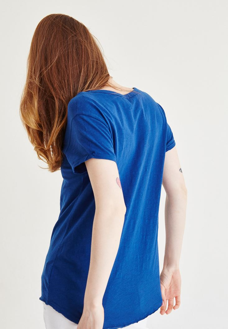 Bayan Lacivert Yaka Detaylı Tişört