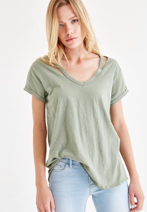 Yeşil Yaka Detaylı Tişört