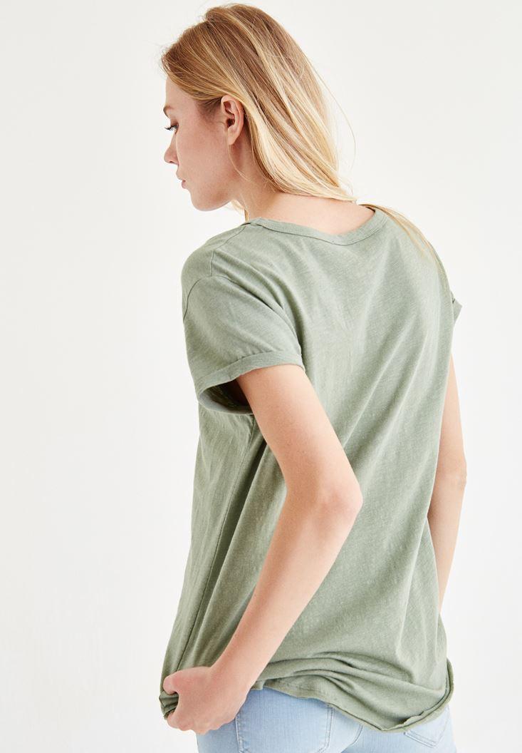 Bayan Yeşil Yaka Detaylı Tişört