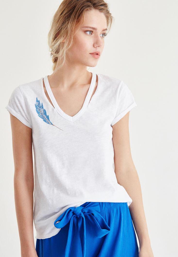 Beyaz Tüy Baskılı Tişört