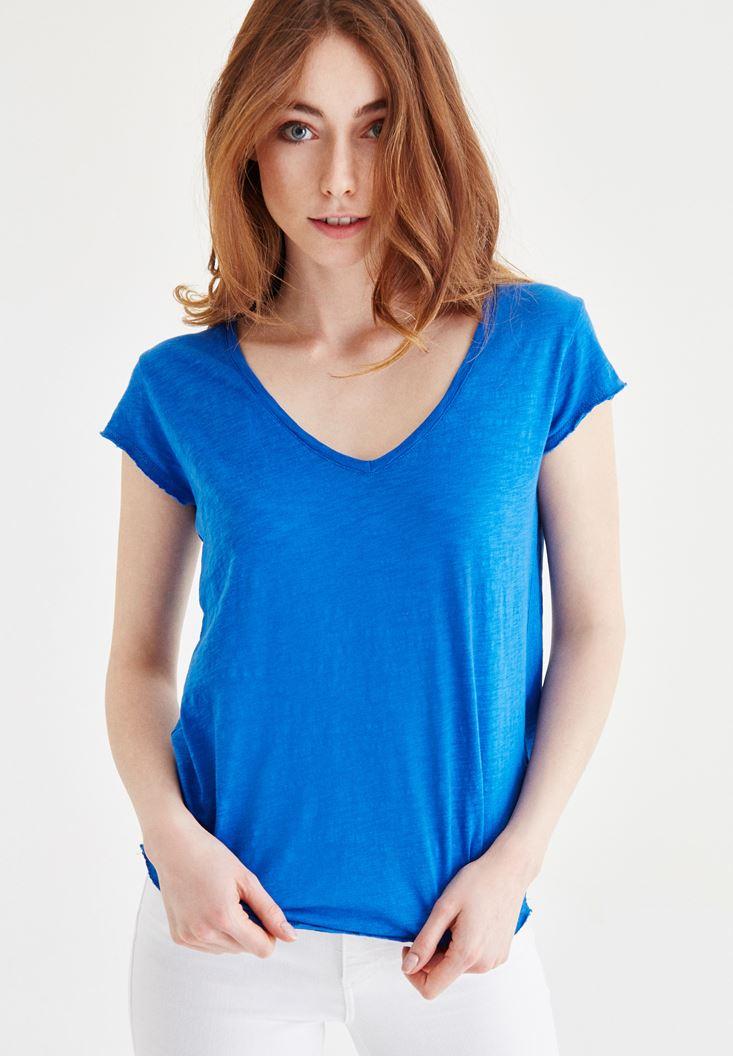 Mavi V Yaka Pamuklu Tişört