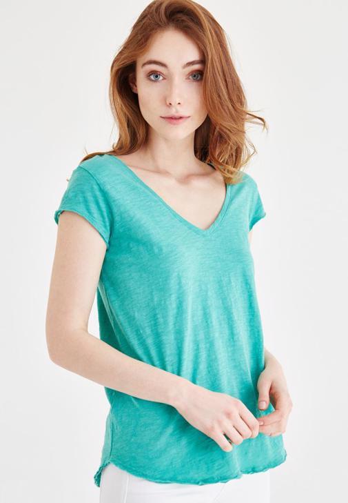 Yeşil V Yaka Pamuklu Tişört