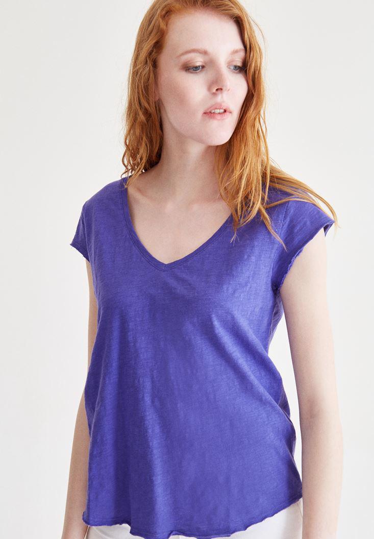 Bayan Mor V Yaka Pamuklu Tişört