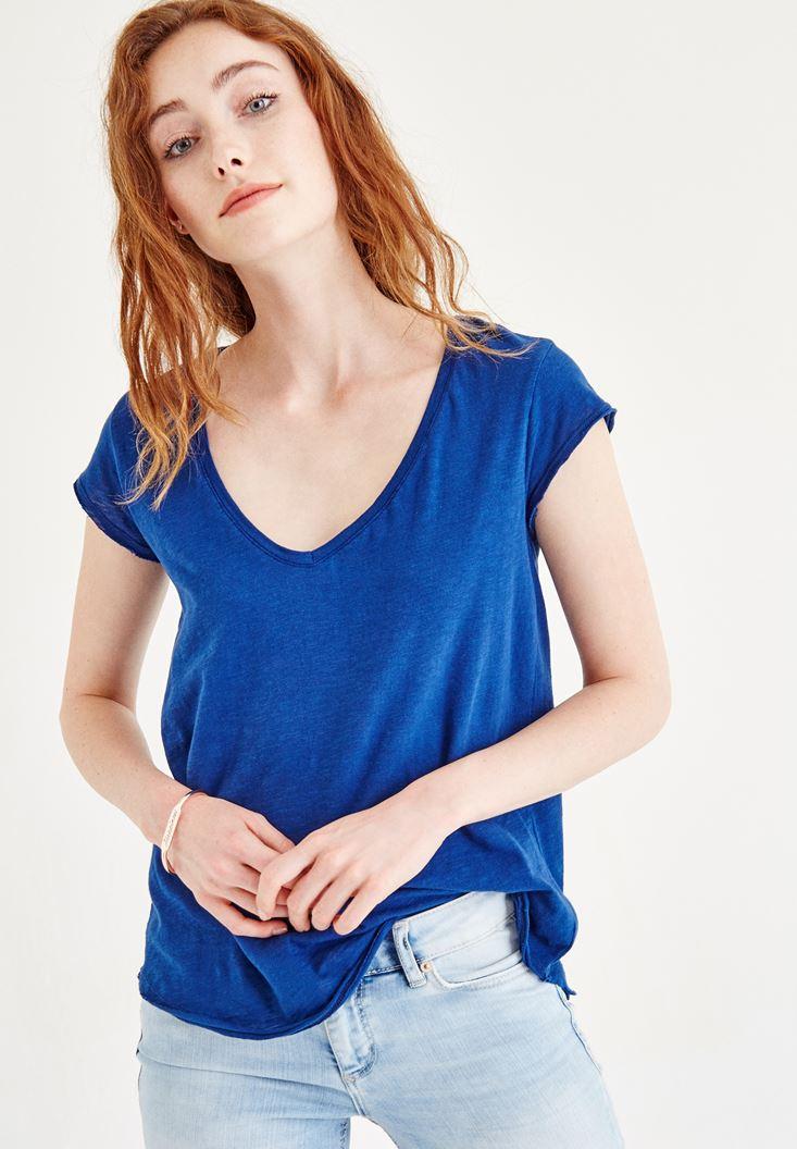Lacivert V Yaka Pamuklu Tişört