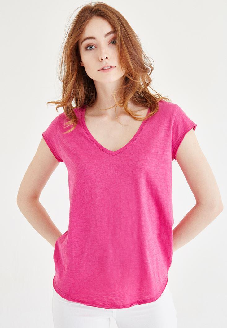 Pink V Neck Cotton T-shirt