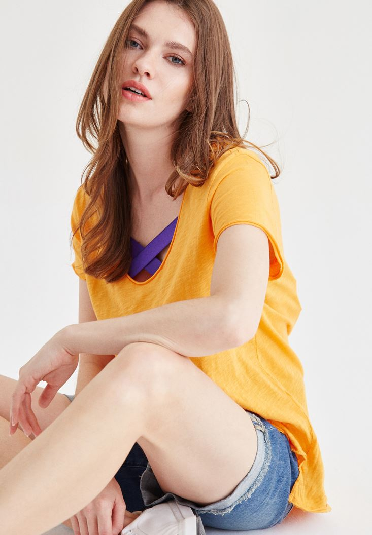 Bayan Turuncu V Yaka Tişört