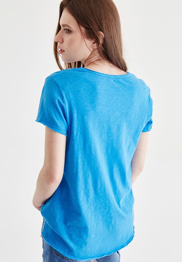 Bayan Mavi V Yaka Tişört