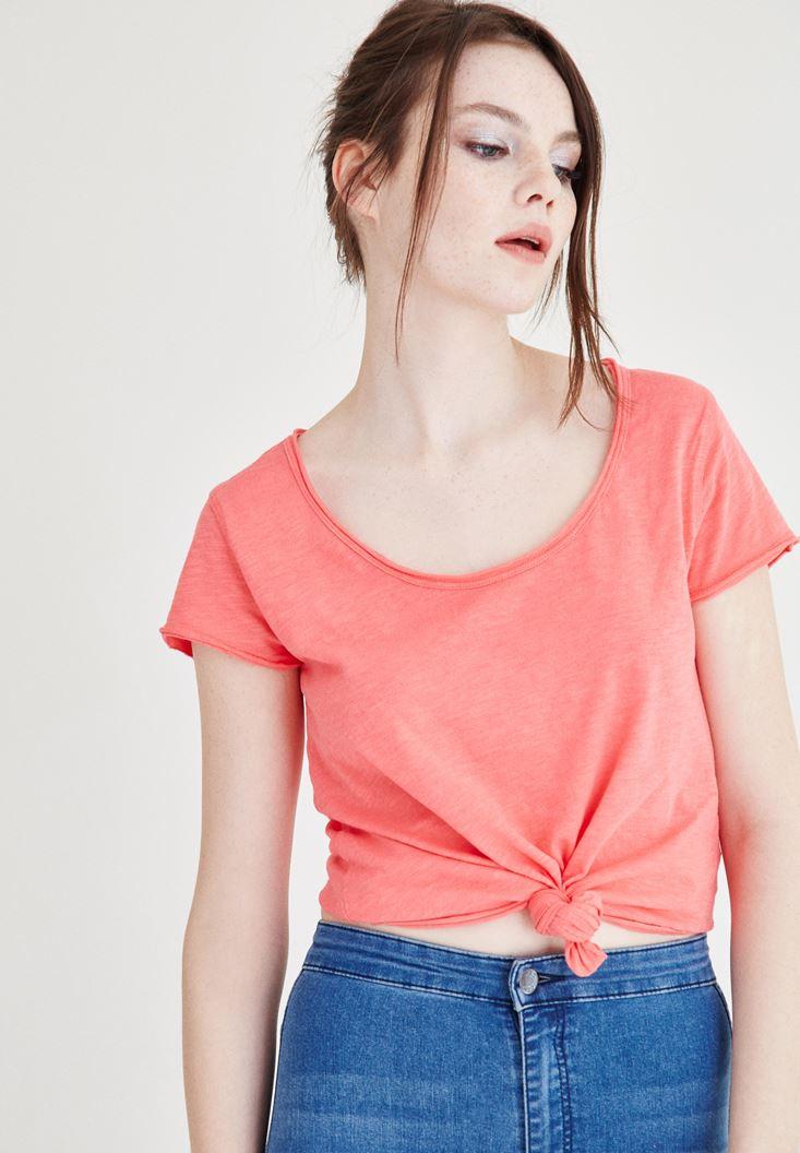 Pembe U Yaka Basic Pamuklu Tişört