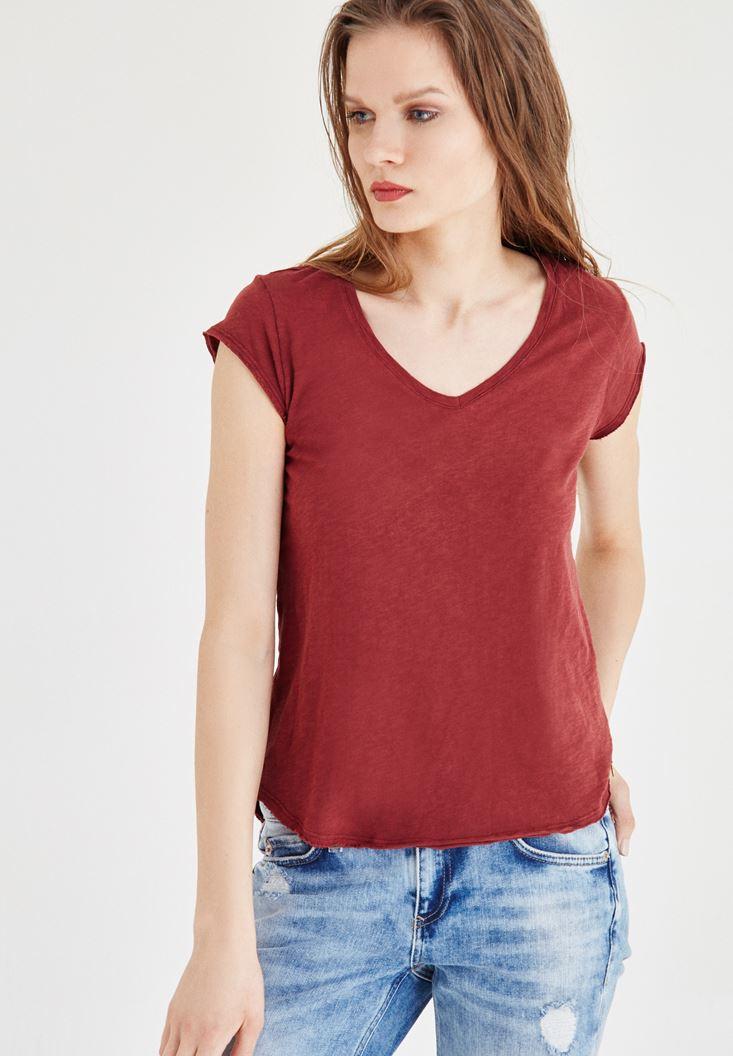 Bordo V Yaka Basic Tişört