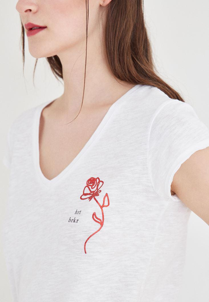 Bayan Beyaz Desenli V Yaka Tişört