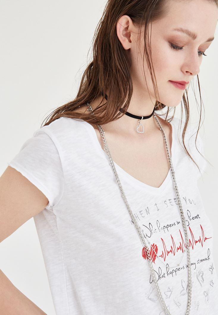 Bayan Beyaz V Yaka Baskılı Tişört