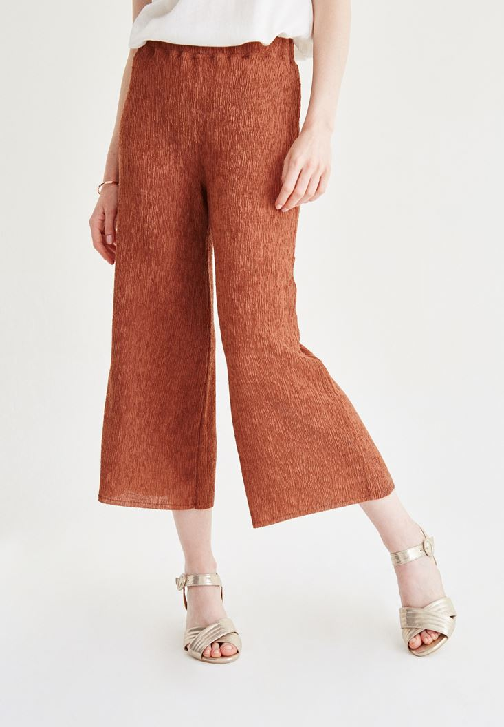 Bayan Kahverengi Bol Pantolon