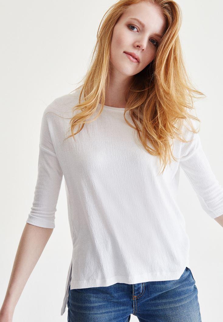Beyaz Bisiklet Yaka Basic Bluz