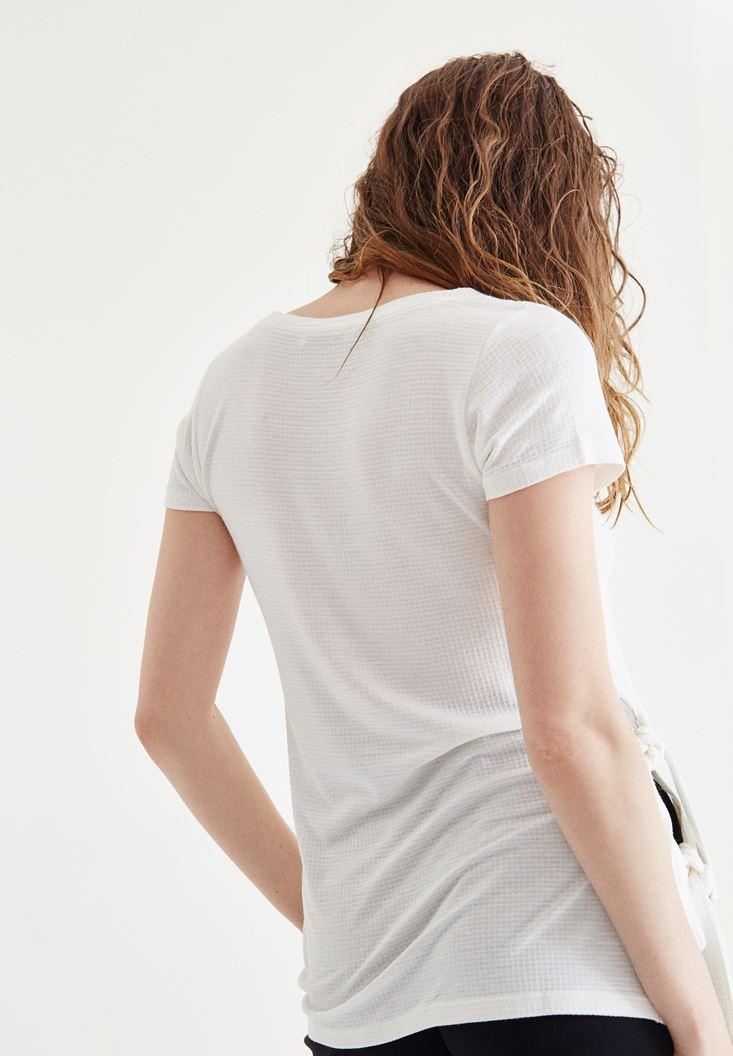 Bayan Krem Yan Detaylı Tişört