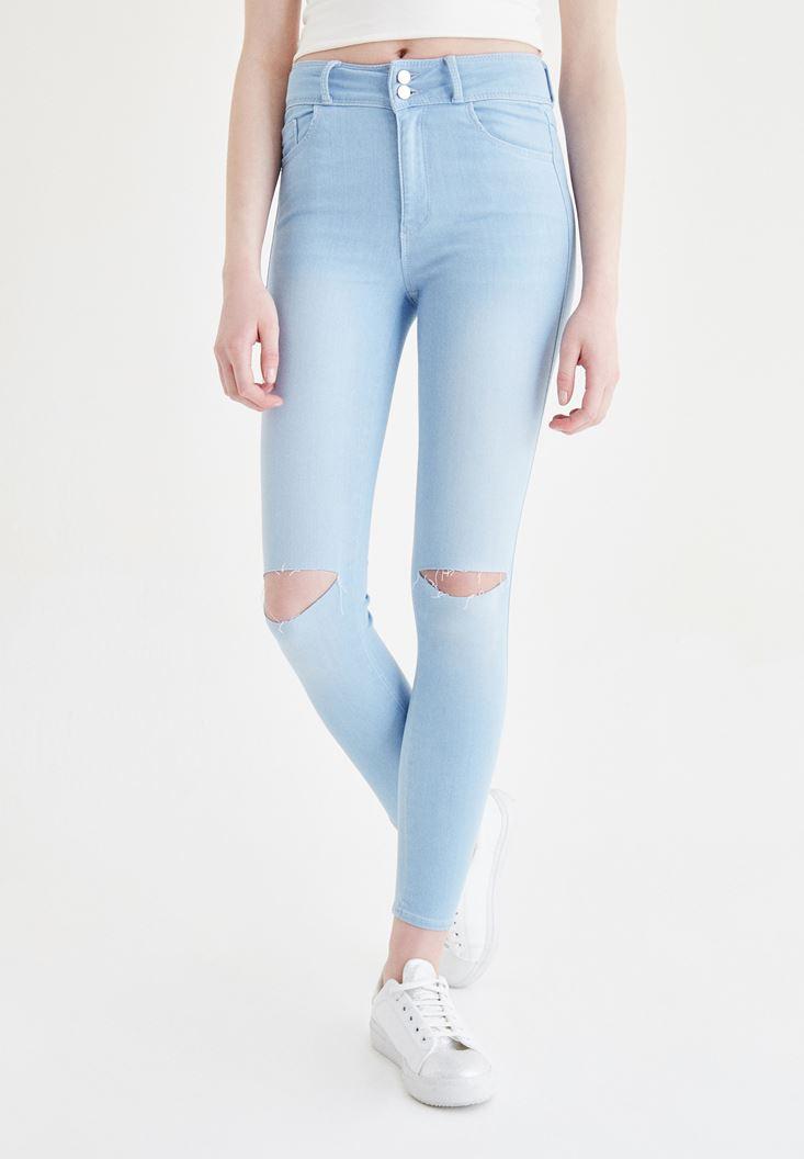 Mavi Yüksek Bel Dar Paça Skinny Jean