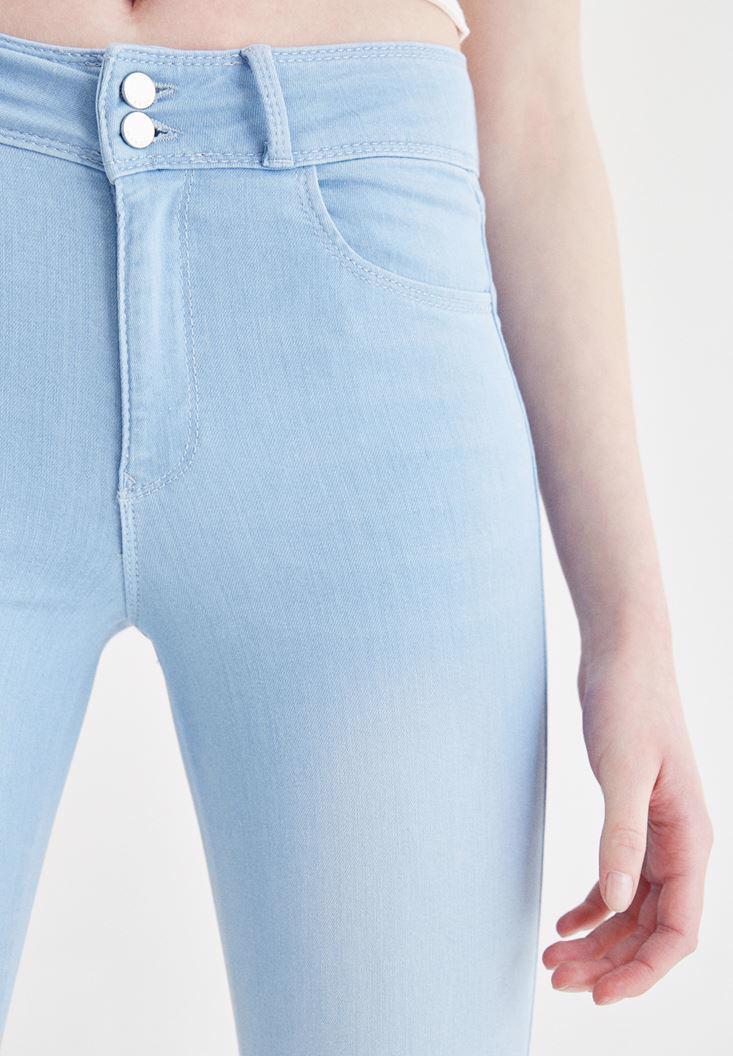 Bayan Mavi Yüksek Bel Dar Paça Skinny Jean