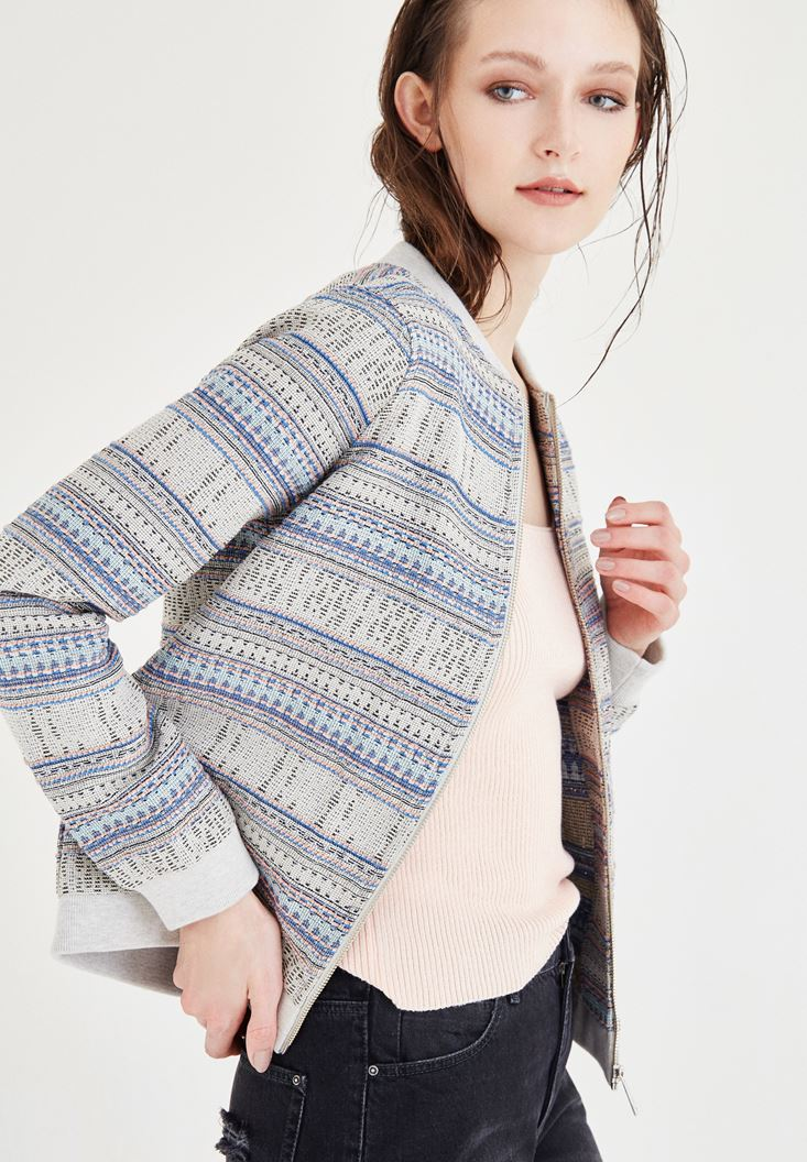 Mixed Bomber Jacket With Stripped Detail