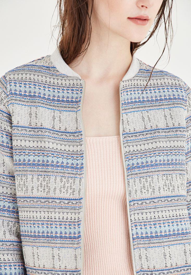 Bayan Çok Renkli Çizgili Bomber Ceket