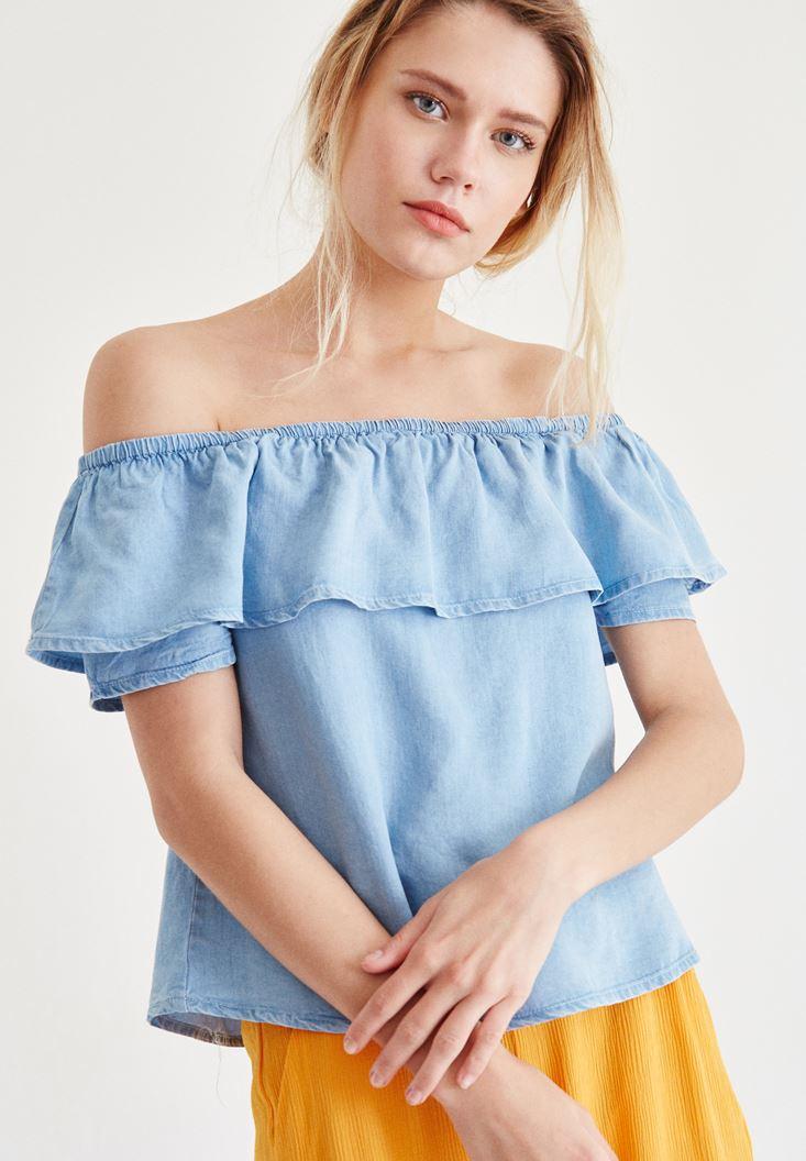 Bayan Mavi Düşük Omuzlu Denim Bluz