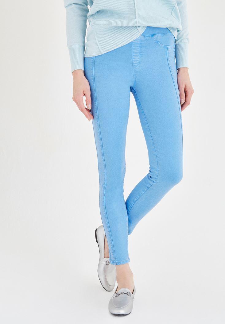 Bayan Mavi Düşük Bel Tayt Pantolon